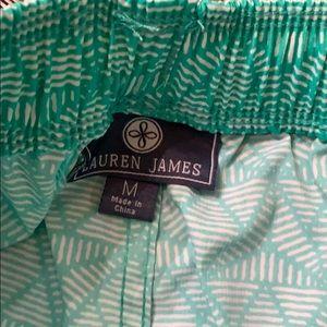 Lauren James Shorts - NWT green pattern shorts with elastic tie waist